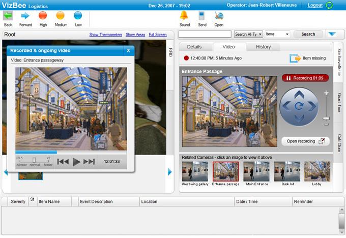 מסך מעקב וידאו אחר פירטי מוזיאון - Vizbee RFID