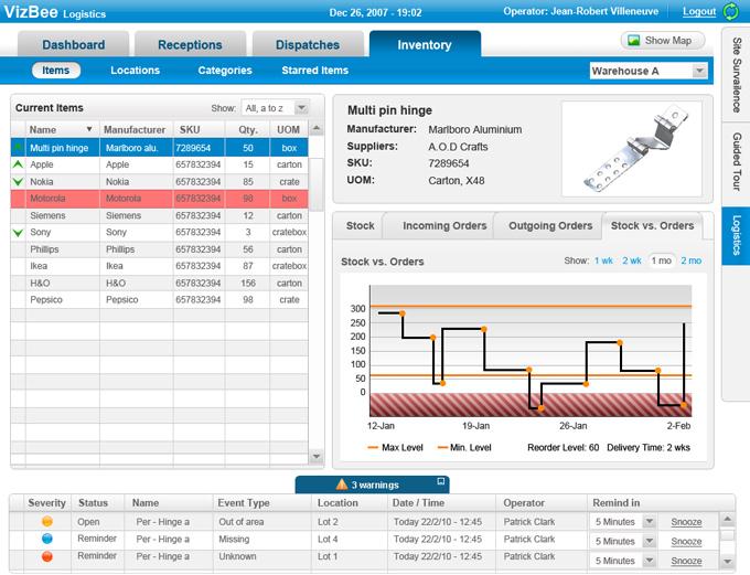מסך מערכת ניהול מלאי באמצעות מעקב RFID – Vizbee